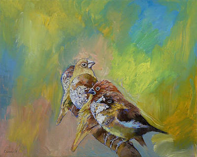 Impasto Oil Painting - Finches by Michael Creese
