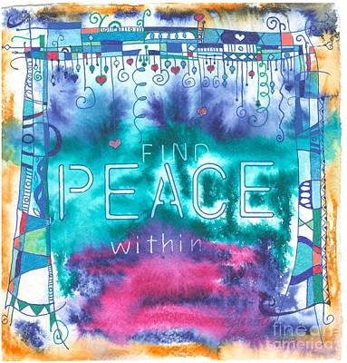 Wall Art - Drawing - Find Peace Within by Jeanette Clawson