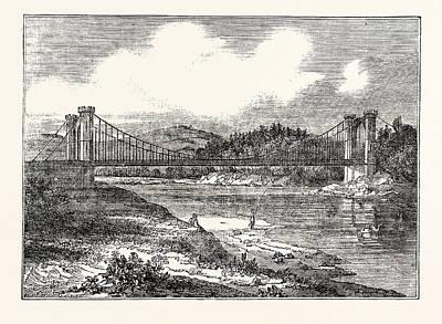 Suspension Drawing - Findhorn Suspension Bridge by English School