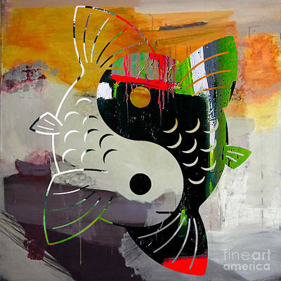 Balance Mixed Media - Finding Good Balance Yin Yang Koi by Marvin Blaine