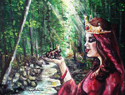 Wood Necklace Painting - Finding Prince Charming by Shana Rowe Jackson