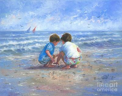 Little Girl On Beach Painting - Finding Sea Shells Brother And Sister by Vickie Wade