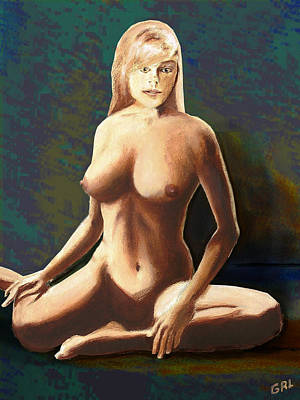 Art Print featuring the painting Fine Art Female Nude Jess Seated Mods2b by G Linsenmayer