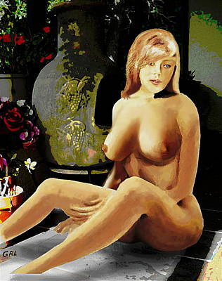 Fine Art Female Nude Jess Sitting On The Patio Art Print