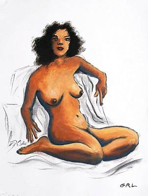 Painting - Fine Art Female Nude Oil Painting Sketch Anna 3a Sitting by G Linsenmayer
