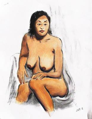 Painting - Fine Art Female Nude Oil Painting Sketch Anna Pensive Mood by G Linsenmayer