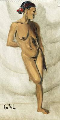Painting - Fine Art Female Nude Oil Painting Sketch Stacy Standing by G Linsenmayer
