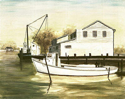 Art Print featuring the painting Fine Art Traditional Oil Painting Solomons Island by G Linsenmayer