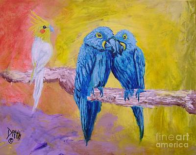 Art Print featuring the painting Fine Feathered Friends 1 by Donna Dixon