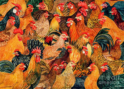 Roosters Painting - Fine Fowl by Ditz
