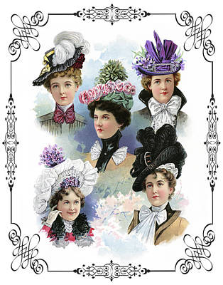 Milliner Digital Art - Fine Ladies Millinery Spring Collection 1900 by Daniel Hagerman