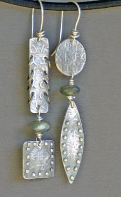 Fine Silver Mismatched Earrings Print by Mirinda Kossoff