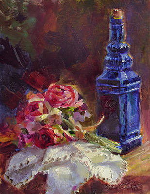 Antique Roses Vase Wall Art - Painting - Finer Things Still Life By Karen Whitworth by Karen Whitworth