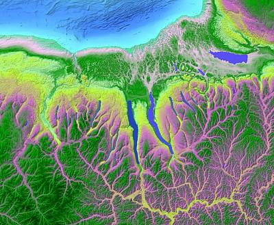 Terrain Digital Art - Finger Lakes Map Art by Paul Hein
