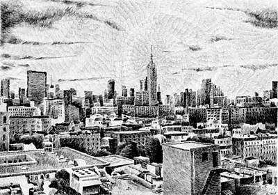 Empire State Building Drawing - Fingerprint - New-york by Nicolas Jolly