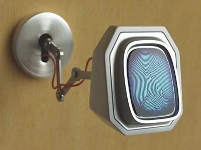 Biometrics Photograph - Fingerprint Scanner And Keyhole by Ktsdesign