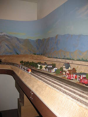 Desert Scape Painting - Finished Train Room With Mural Backdrop by Maria Hunt