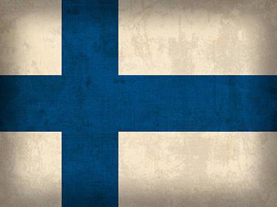 Helsinki Mixed Media - Finland Flag Vintage Distressed Finish by Design Turnpike