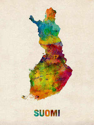 Digital Art - Finland Watercolor Map Suomi by Michael Tompsett