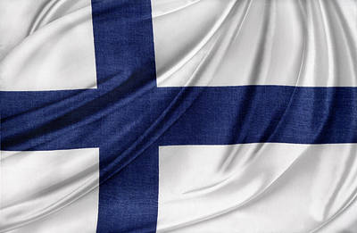 Waving Flag Photograph - Finnish Flag by Les Cunliffe
