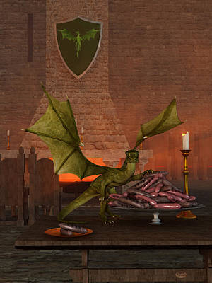 Dragon Digital Art - Finn's Snack by Daniel Eskridge