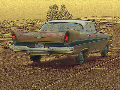 Antique Cars Mixed Media - Fins by Steve Karol