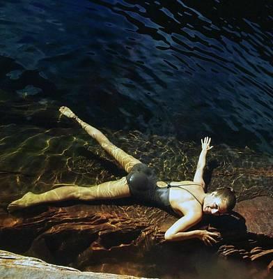 Photograph - Fiona Campbell-walker Wearing A Brown Swimsuit by John Cowan