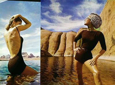 Fashion Photography Photograph - Fiona Campbell-walker Wearing Brown Swimsuits by John Cowan