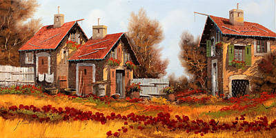 Red Sky Wall Art - Painting - Fiori Amaranto Su Prato Giallo by Guido Borelli