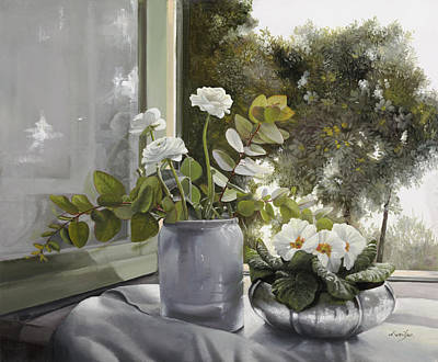 Window Painting - Fiori Bianchi Alla Finestra by Danka Weitzen