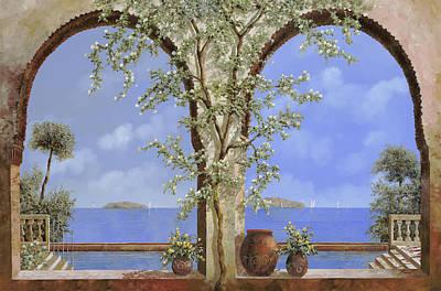 Pool Painting - Fiori Bianchi Sulla Parete by Guido Borelli