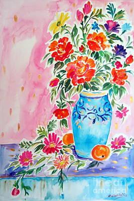 Vase Of Flowers Drawing - Fiori Nel Vaso Blu by Roberto Gagliardi