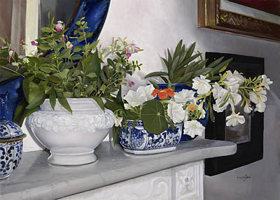 Porcelain Painting - Fiori Sul Camino by Danka Weitzen