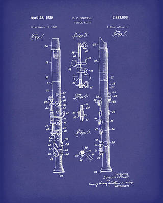 Drawing - Fipple Flute 1959 Patent Art Blue by Prior Art Design