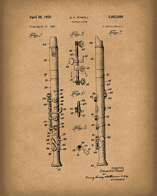 Drawing - Fipple Flute 1959 Patent Art Brown by Prior Art Design
