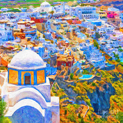 Fira Church Abstract Digital Painting Art Print