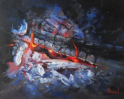 Painting - Fire-1 by Bijay Biswaal