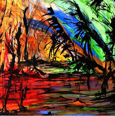 Art Print featuring the painting Fire And Flood by Helen Syron