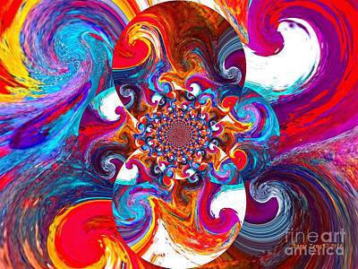 Digital Art - Fire And Ice Abstract Art by Annie Zeno