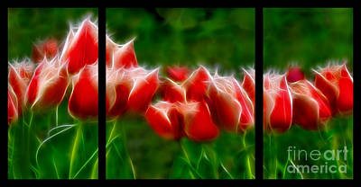 Fire And Ice Fractal Triptych Art Print