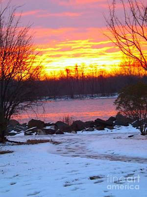 Photograph - Fire And Ice Sunrise On The Delaware River by Robyn King