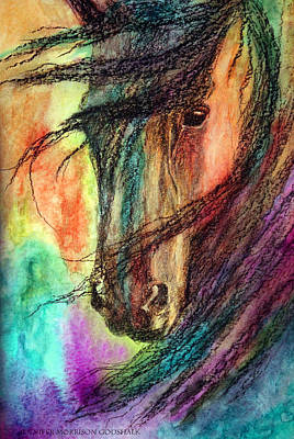 Abstract Horse Painting - Fire And Rain by Jennifer Godshalk