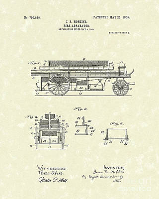 Drawing - Fire Apparatus 1905 Patent Art by Prior Art Design