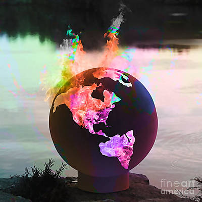 Fire Ball In The Sky. Art Print