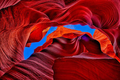 Fire Beneath The Sky In Antelope Canyon Art Print