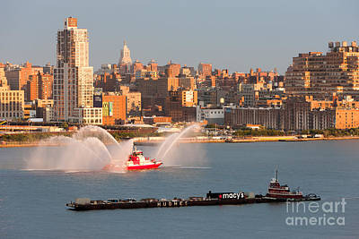 Fire Boat And Manhattan Skyline V Art Print by Clarence Holmes