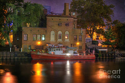 Old Brick Building Photograph - Fire Boat On Cuyahoga River by Juli Scalzi