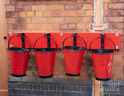 Fire Buckets At Toddington Railway Station Art Print by Louise Heusinkveld