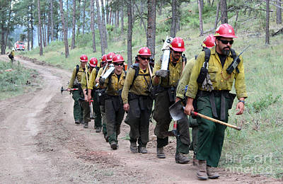 Print featuring the photograph Fire Crew Walks To Their Assignment On Myrtle Fire by Bill Gabbert