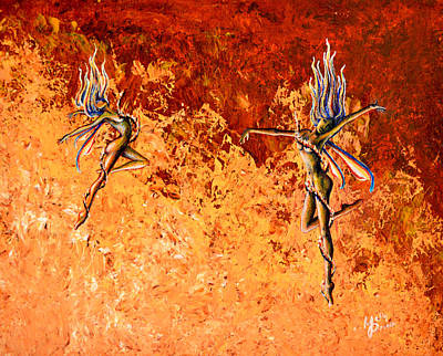 Flame Point Painting - Fire Dancers by Molly Prince